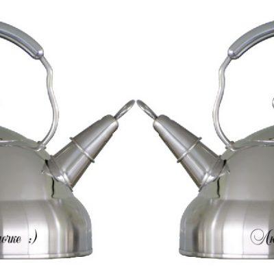 Лазерная гравировка на стальном чайнике с двух сторон