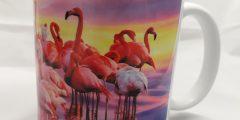Печать на чашках - фламинго