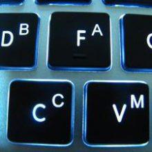 Лазерная гравировка (руссификация) клавиатуры с синей подсветкой