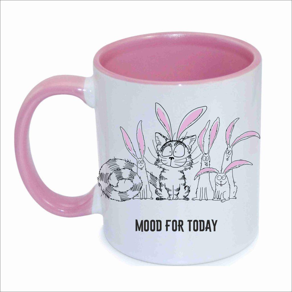 Чашка с рисунком кот и зайцы