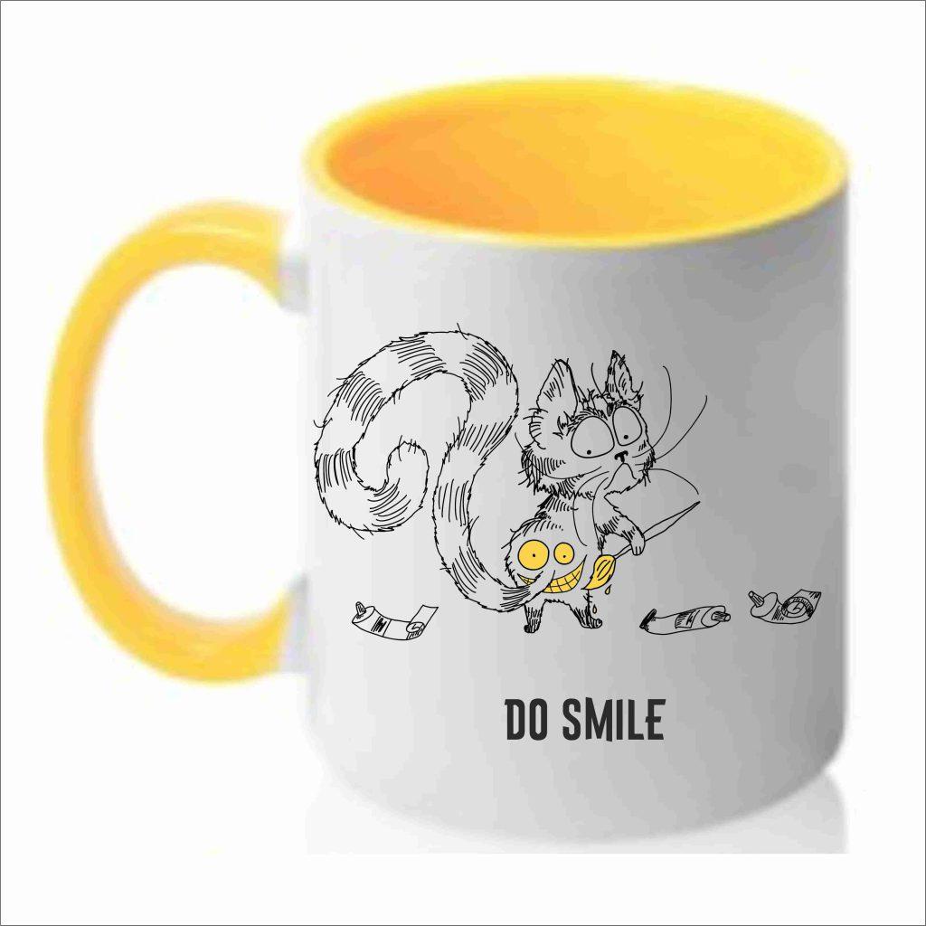 Чашка с рисунком кот и краски
