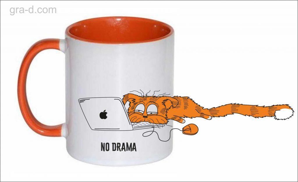 чашка с рисунком apple кот
