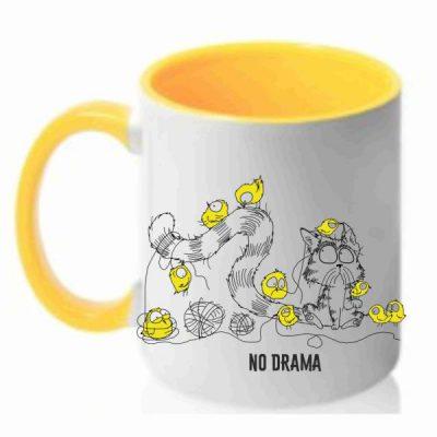 Чашка с рисунком кот и цыплята