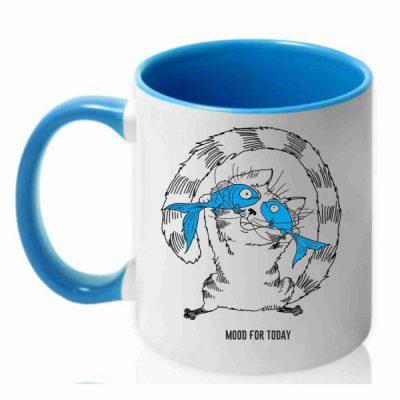 чашка с рисунком кот и рыба